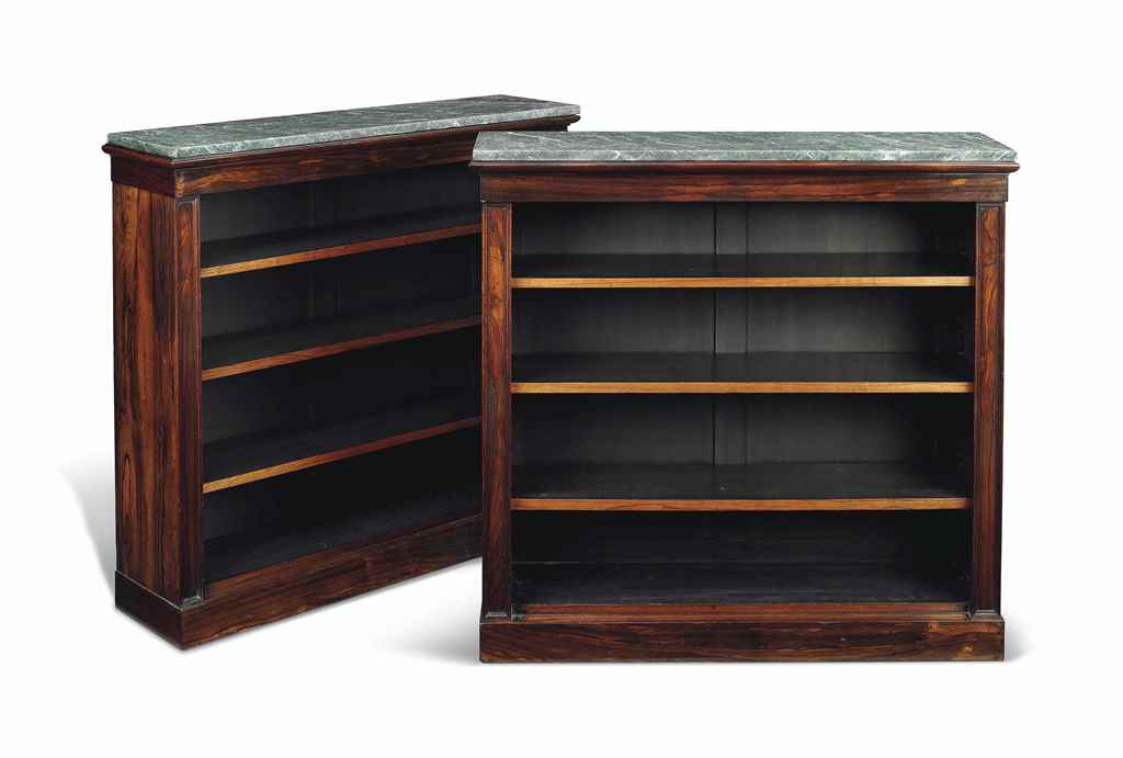 A PAIR OF ROSEWOOD OPEN BOOKCA