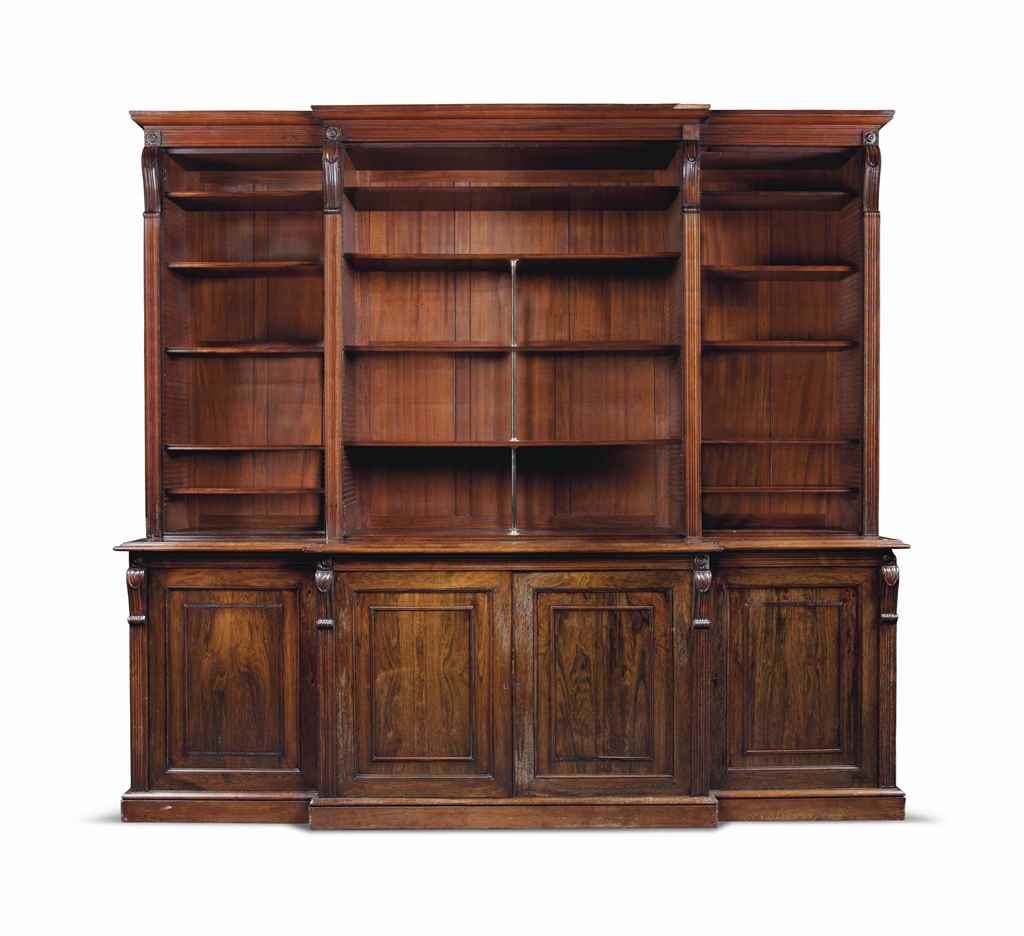 A LARGE VICTORIAN ROSEWOOD BRE
