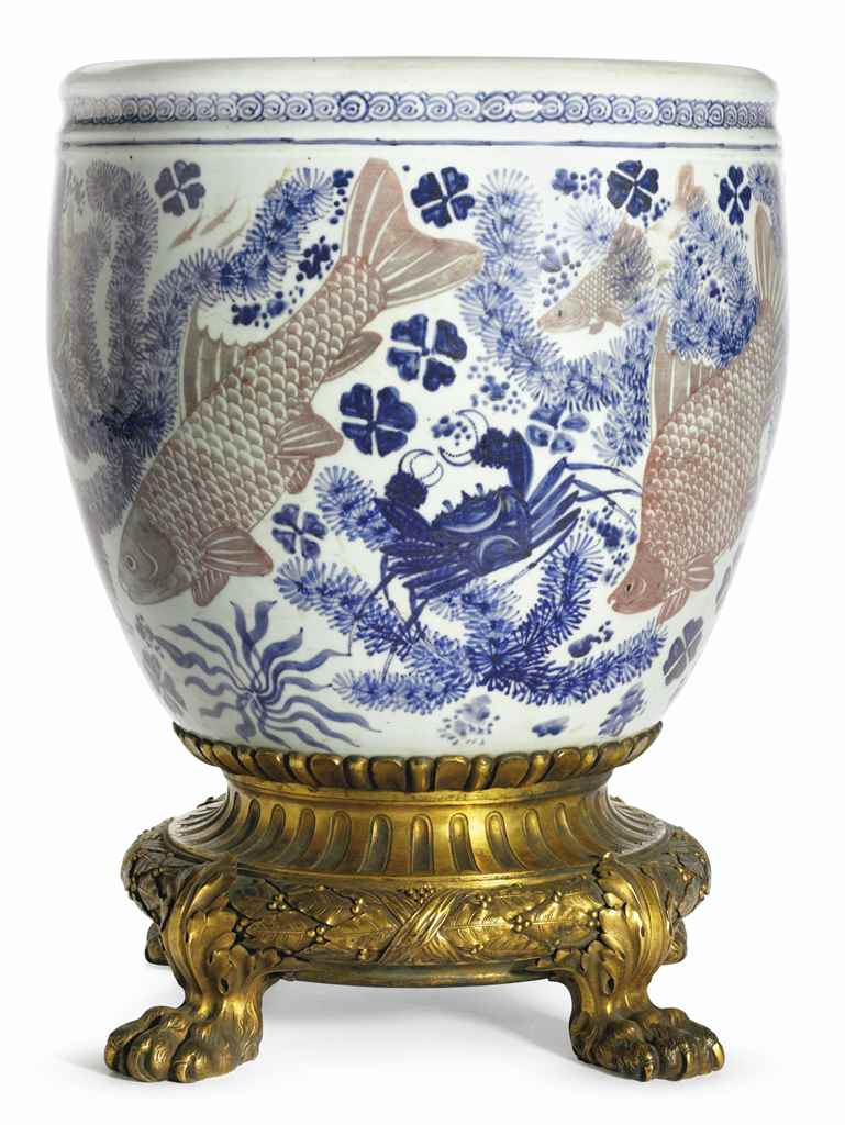 A COPPER-RED-DECORATED BLUE AN