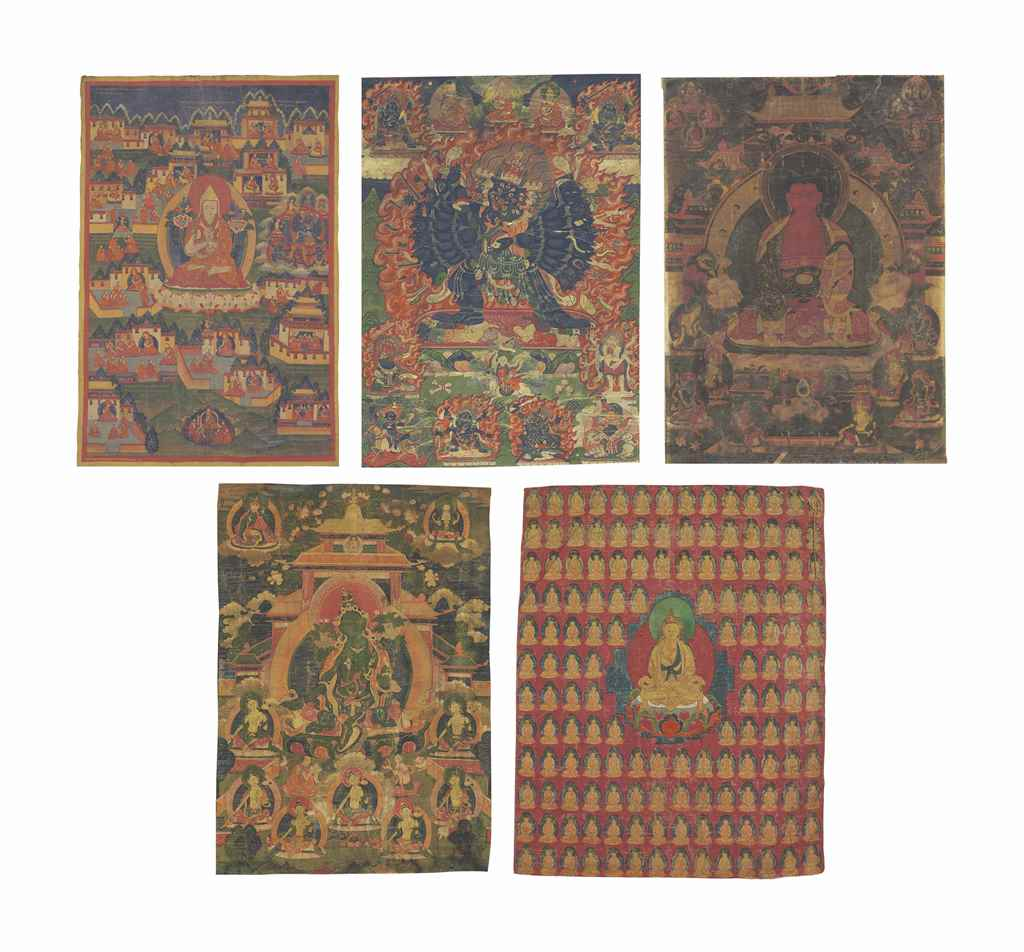A group of five thangkas