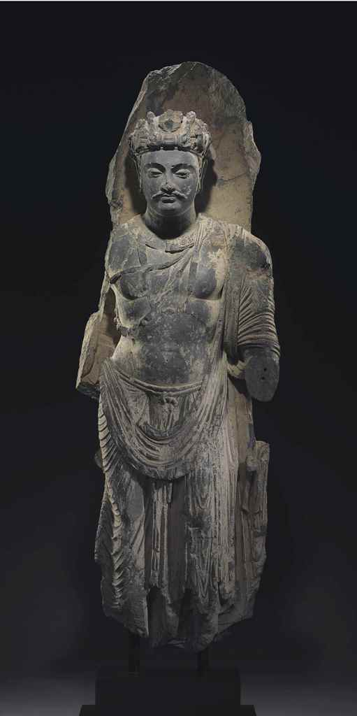 A Monumental Gray Schist Figur
