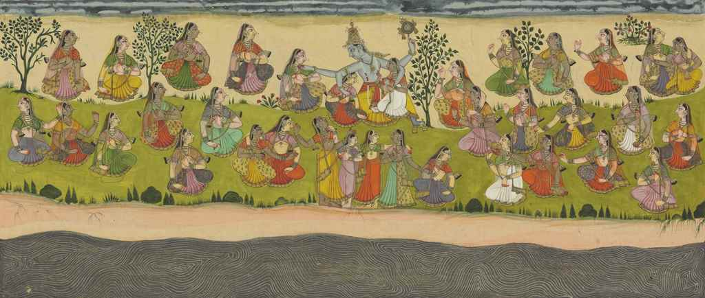 Krishna embraces the Gopis