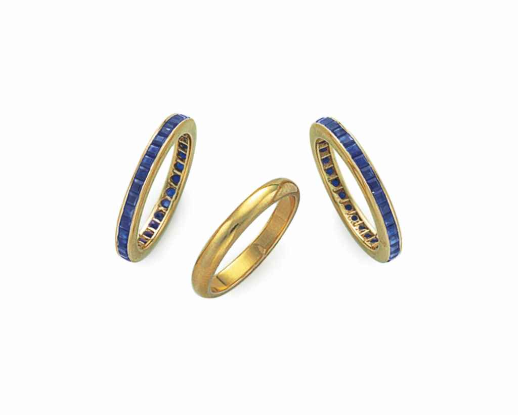 TWO SAPPHIRE AND GOLD BANDS AN