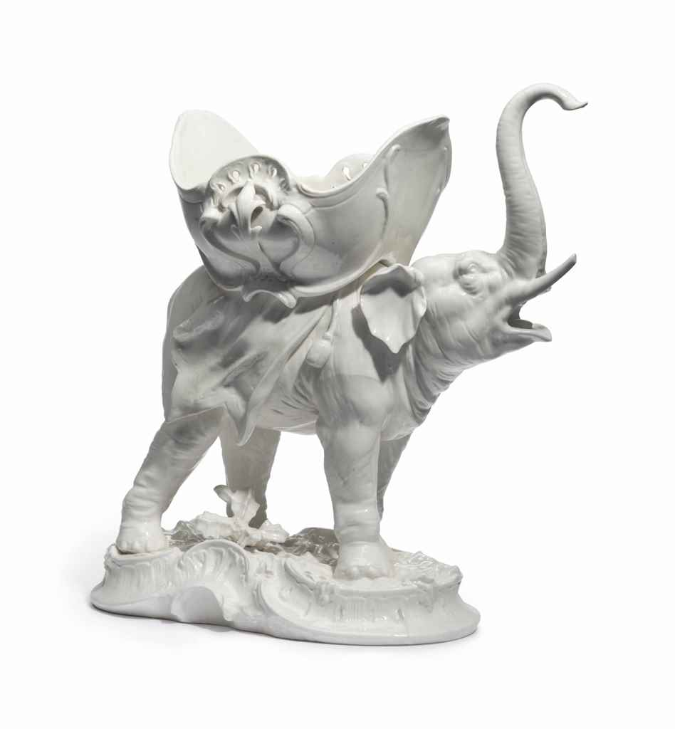 A CONTINENTAL PORCELAIN ELEPHA