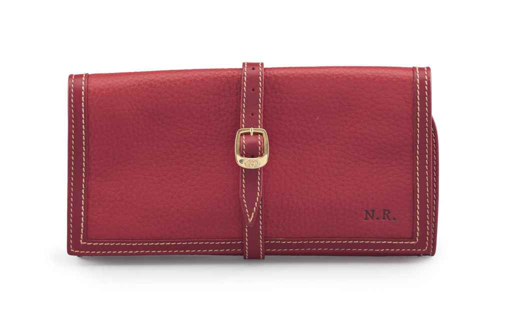 A MONOGRAMMED RED LEATHER JEWE