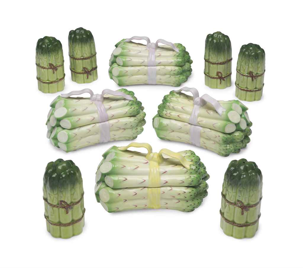 FOUR HEREND PORCELAIN ASPARAGU