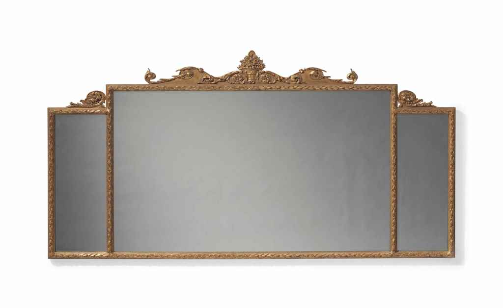 A GILTWOOD OVERMANTLE MIRROR