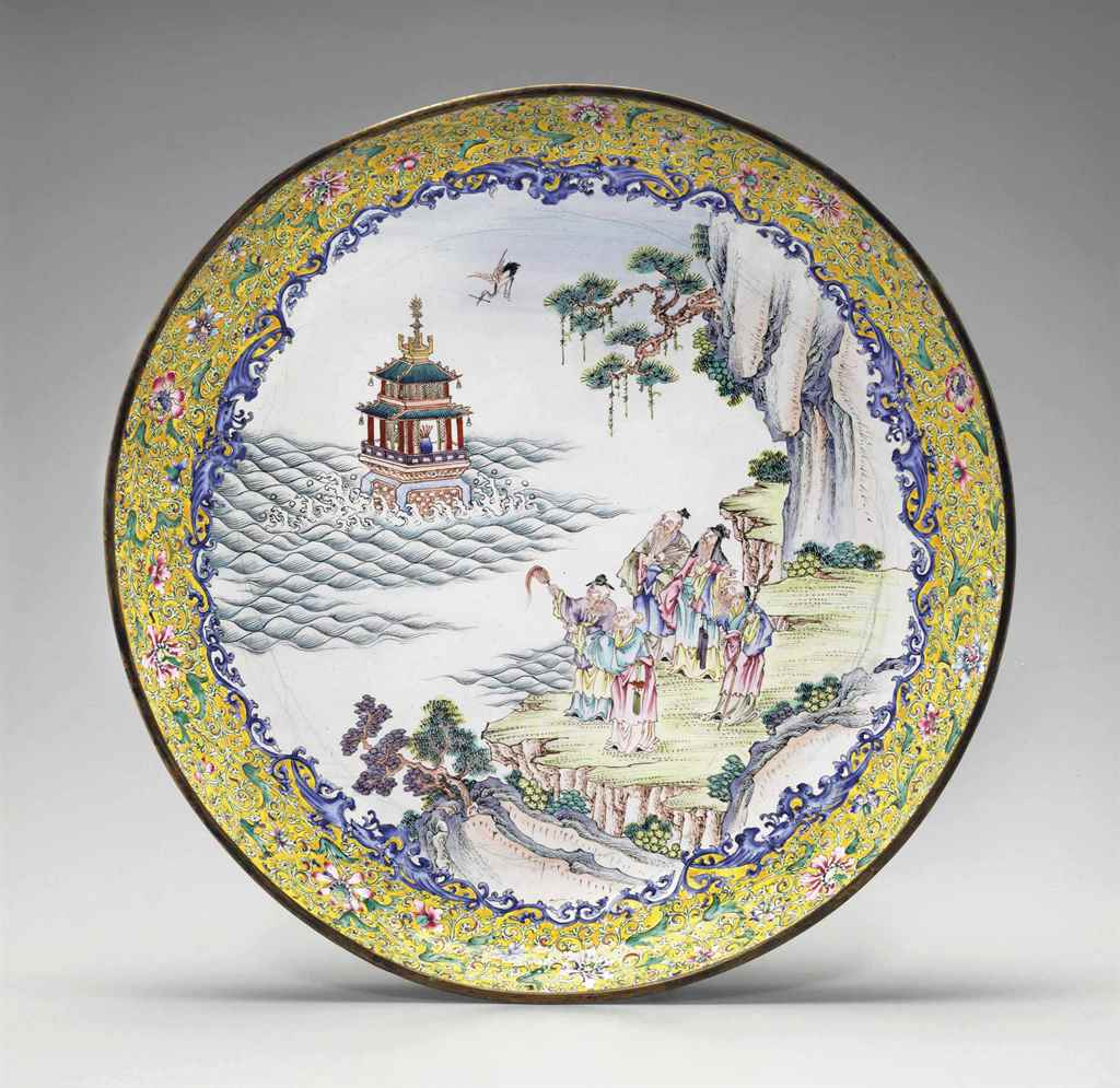 A LARGE PAINTED ENAMEL DISH