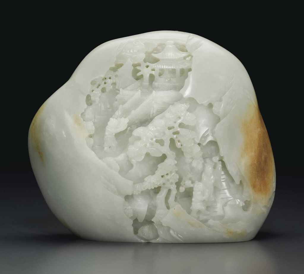 A WELL-CARVED WHITE JADE BOULD