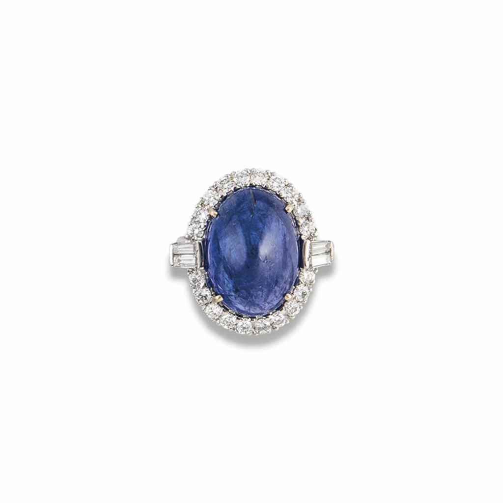 AN 18CT WHITE GOLD, TANZANITE