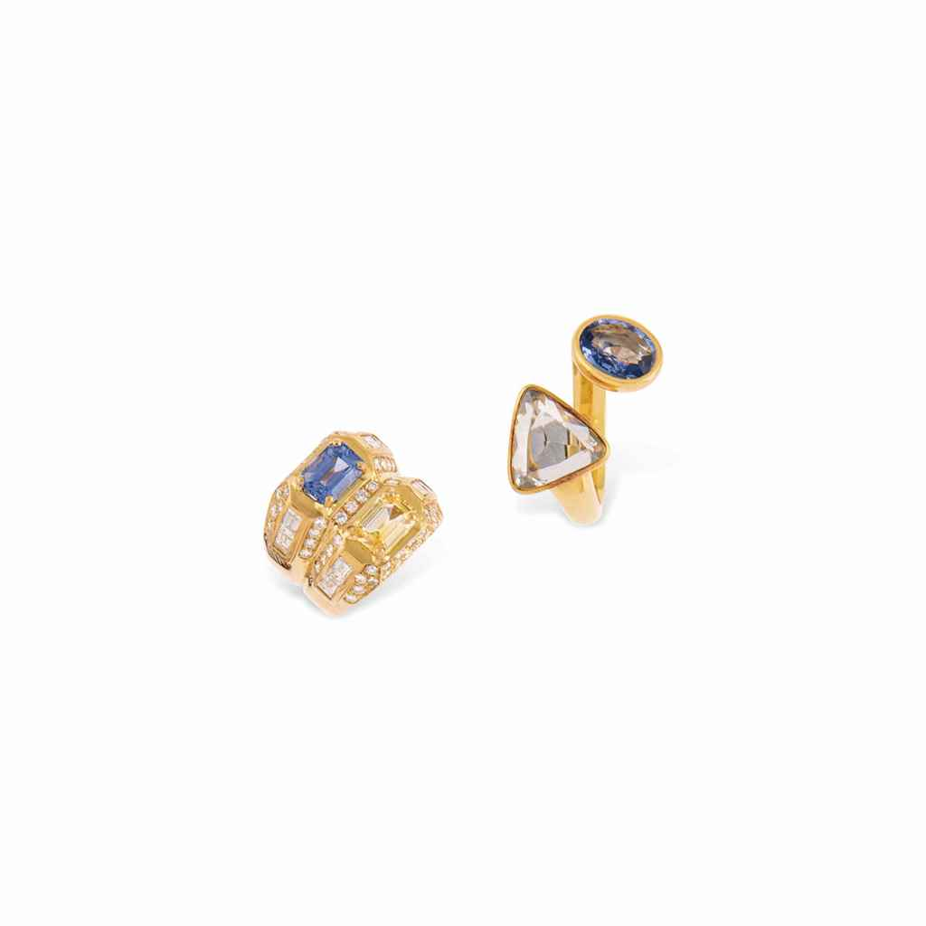 SEVEN SAPPHIRE AND DIAMOND-SET