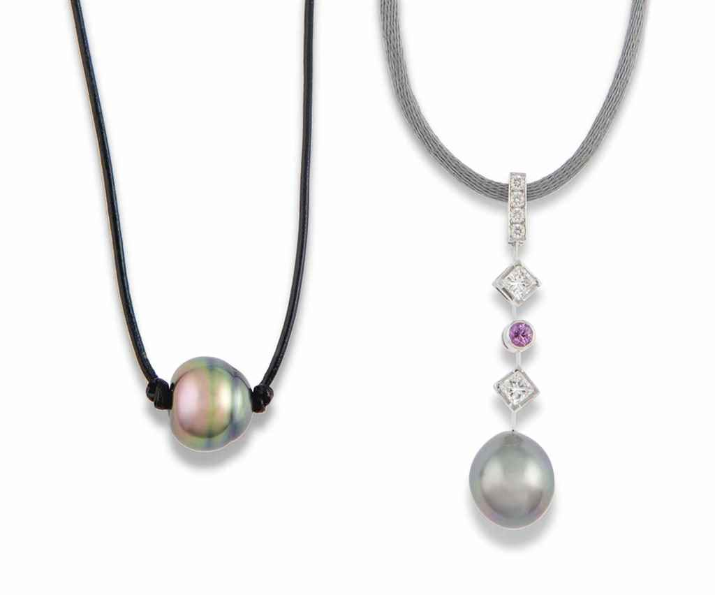 SIX GEM-SET, CULTURED PEARL AN