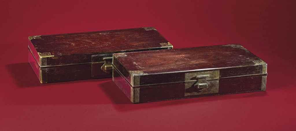 A RARE PAIR OF ZITAN BOXES, XI