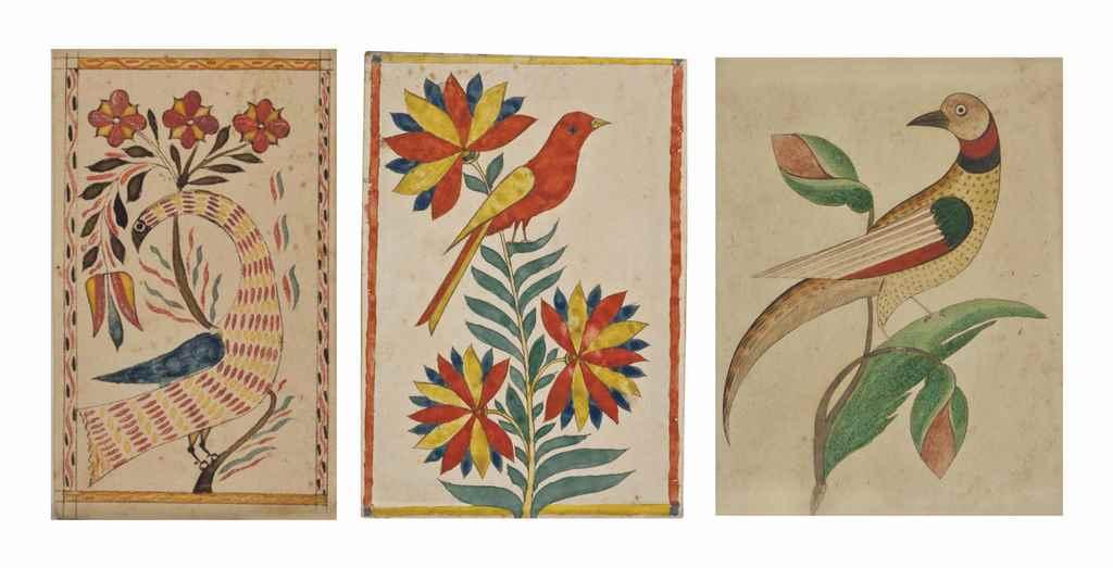 A BIRD WITH FLOWERS: FRAKTUR D