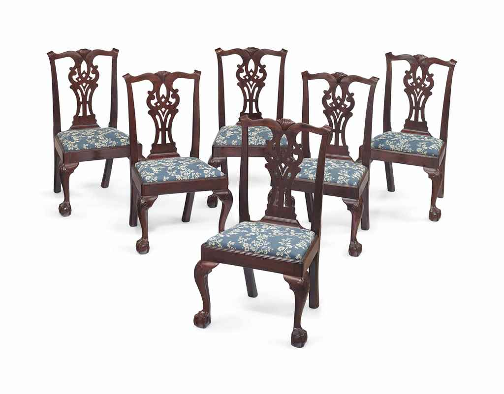 A SET OF SIX CHIPPENDALE MAHOG