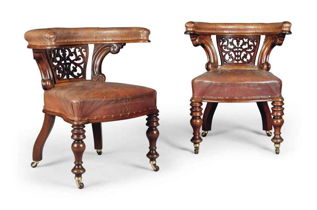 A NEAR PAIR OF VICTORIAN MAHOG