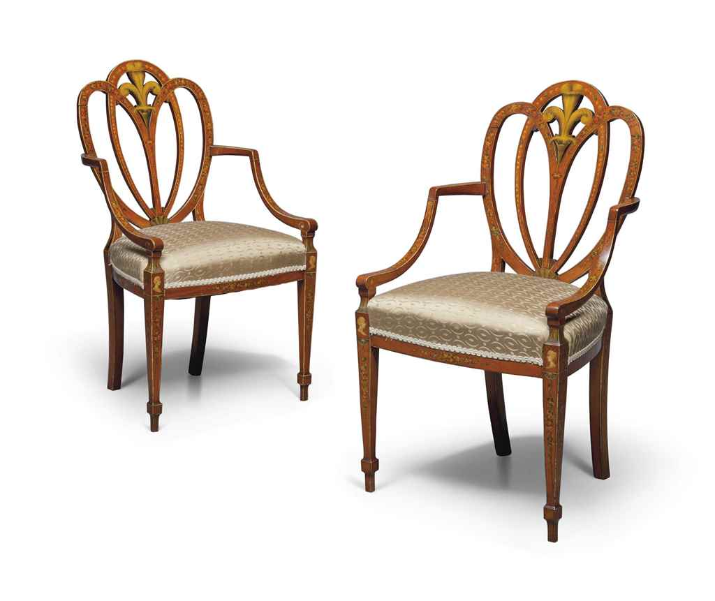 A PAIR OF EDWARDIAN PAINTED CA