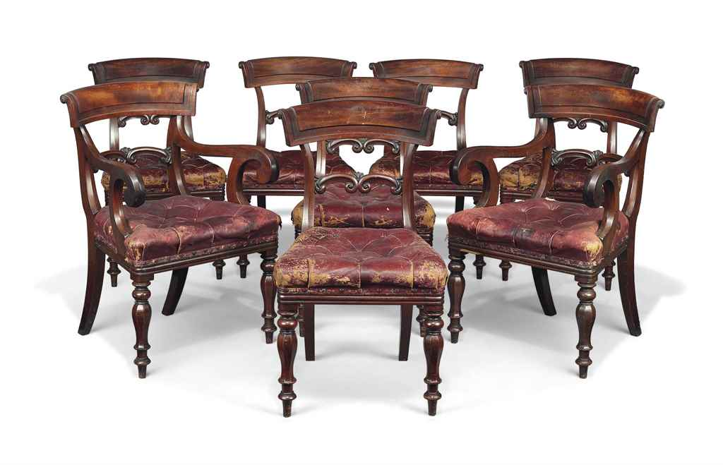 A SET OF EIGHT WILLIAM IV MAHO