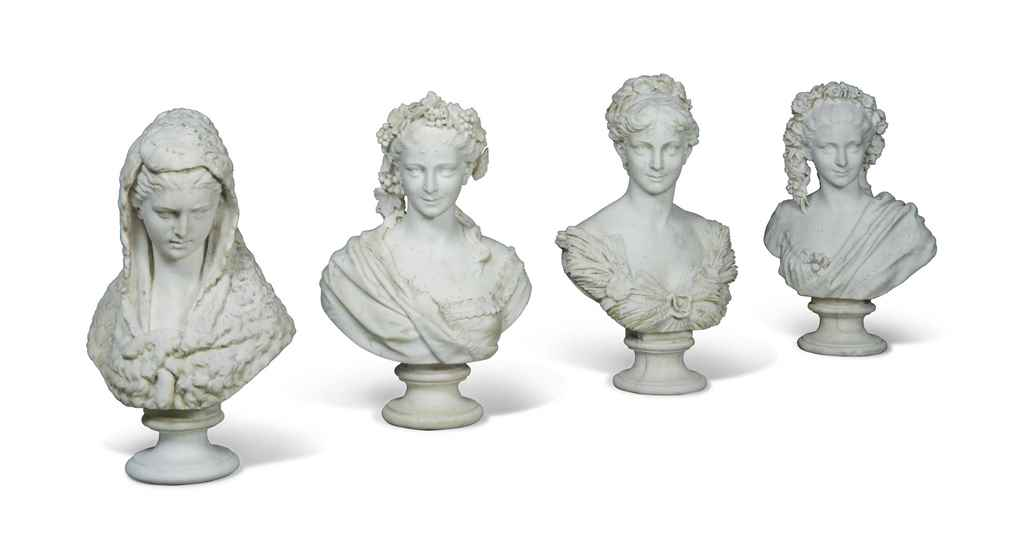 A SET OF FOUR ITALIAN CARRARA