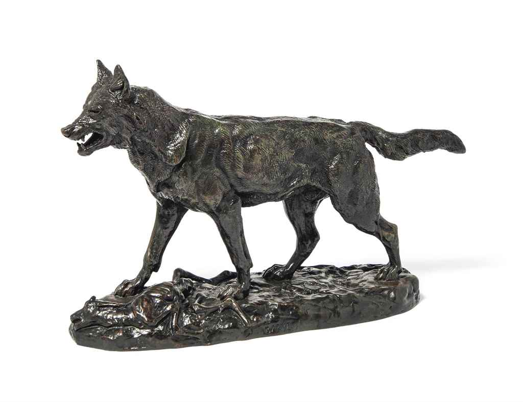 A BRONZE MODEL OF 'LOUP MARCHA