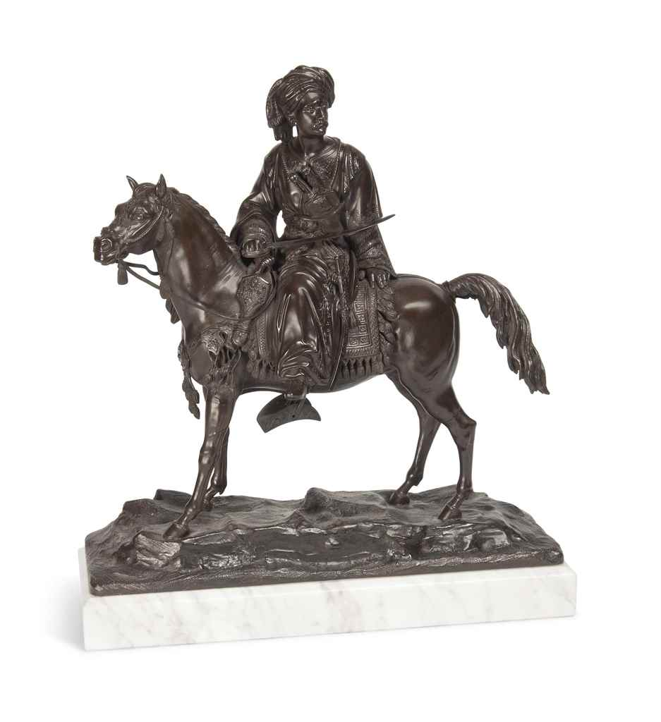 A FRENCH EQUESTRIAN BRONZE GRO