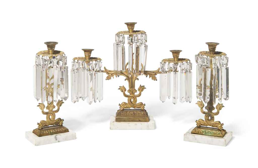 A SET OF THREE GILT-BRONZE AND