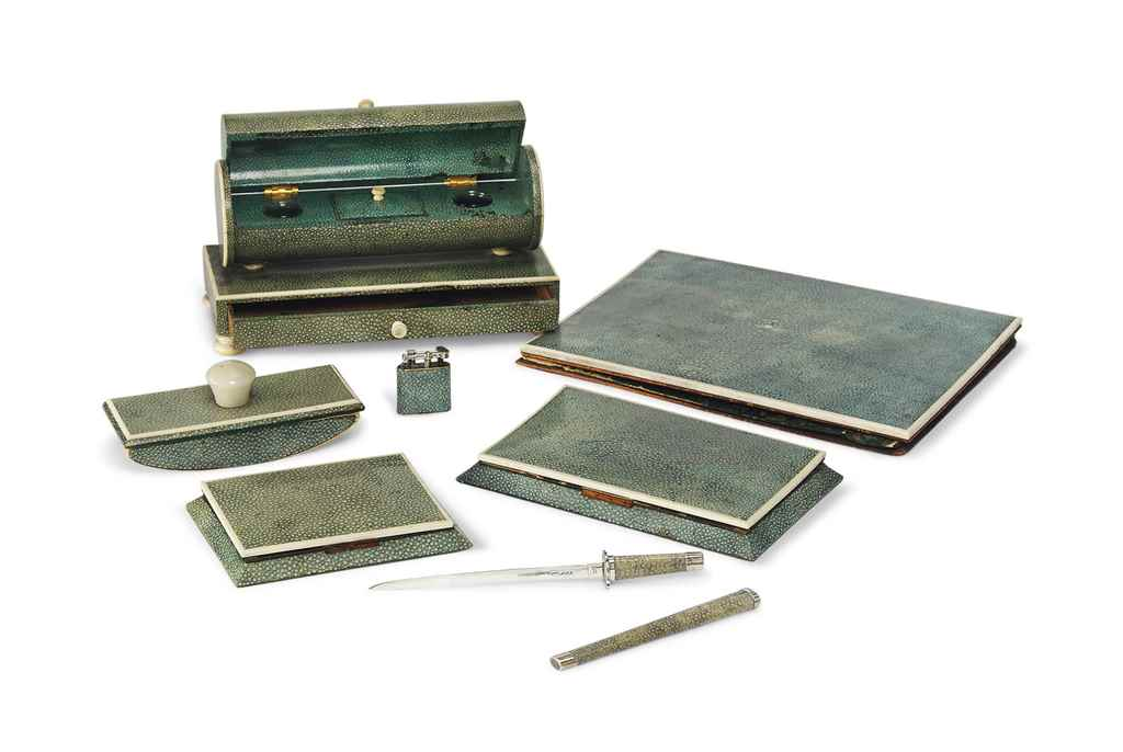 A SHAGREEN AND IVORY DESK SET