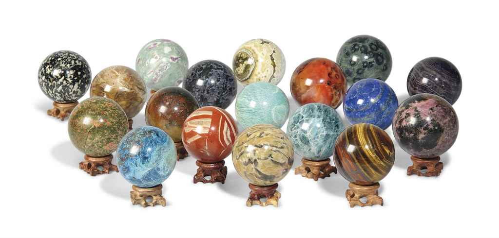 EIGHTEEN MINERAL SPHERES