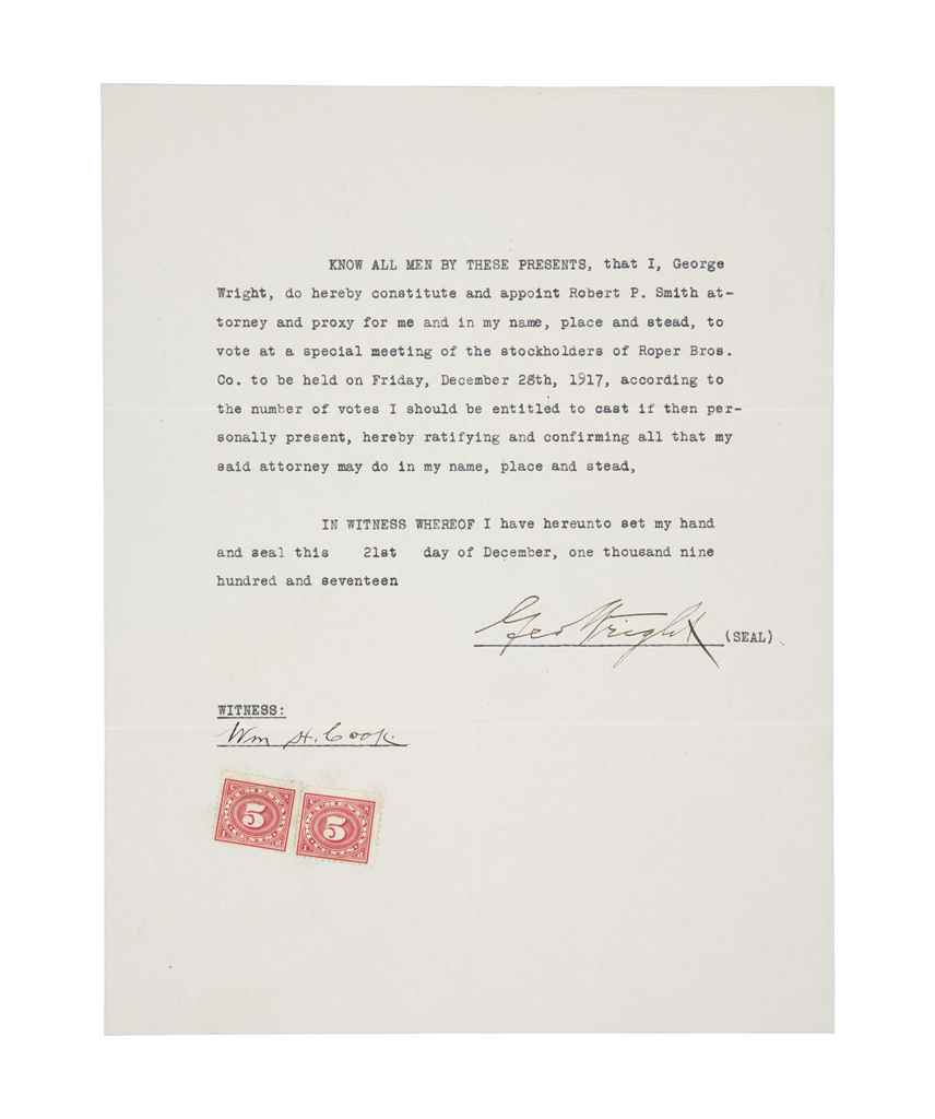 GEORGE WRIGHT SIGNED DOCUMENT