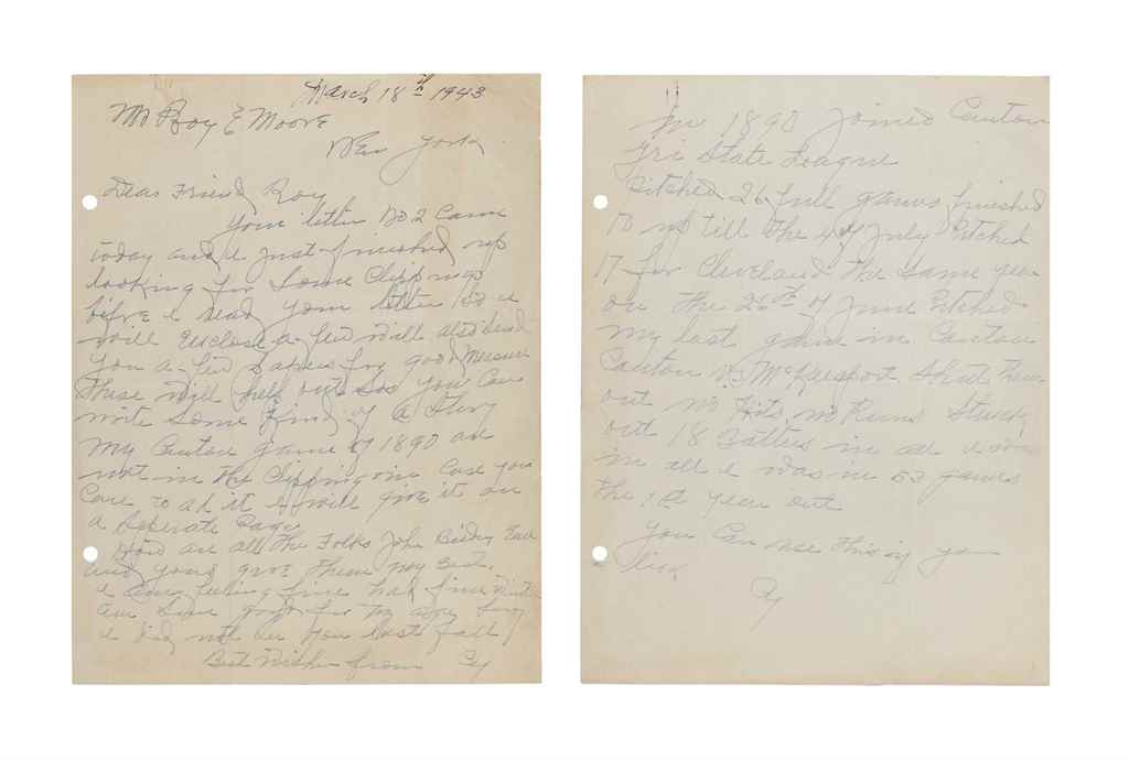 CY YOUNG HANDWRITTEN LETTER