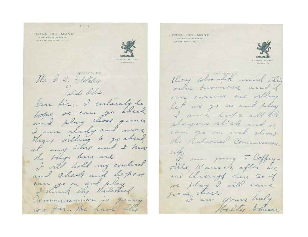 WALTER JOHNSON HANDWRITTEN LET