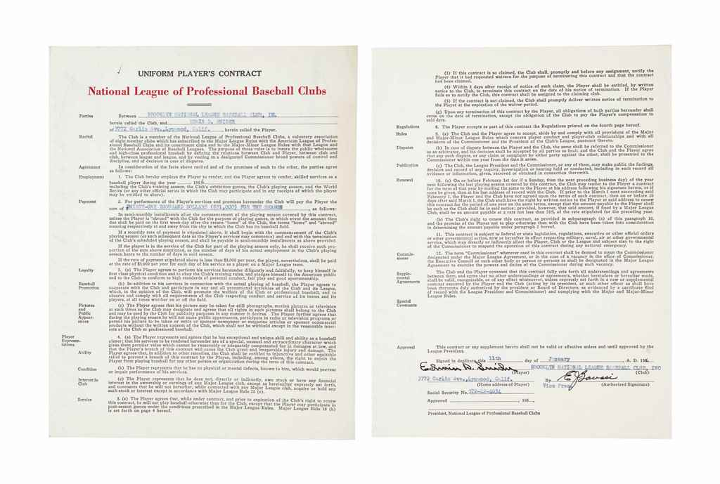 DUKE SNIDER SIGNED CONTRACT