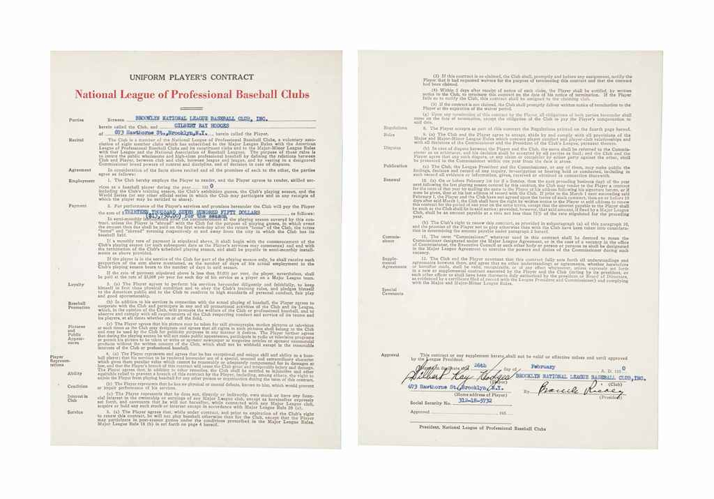 GIL HODGES SIGNED CONTRACT
