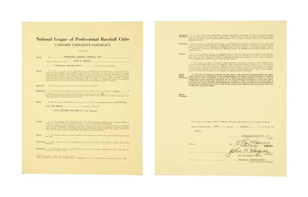 HONUS WAGNER SIGNED CONTRACT