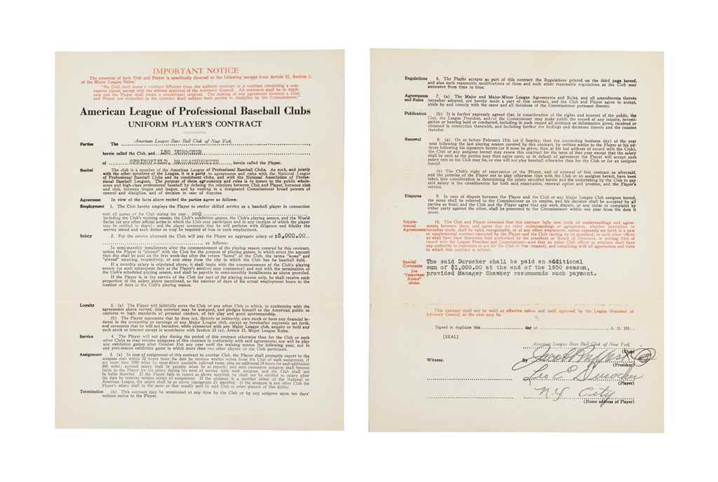 LEO DUROCHER SIGNED CONTRACT