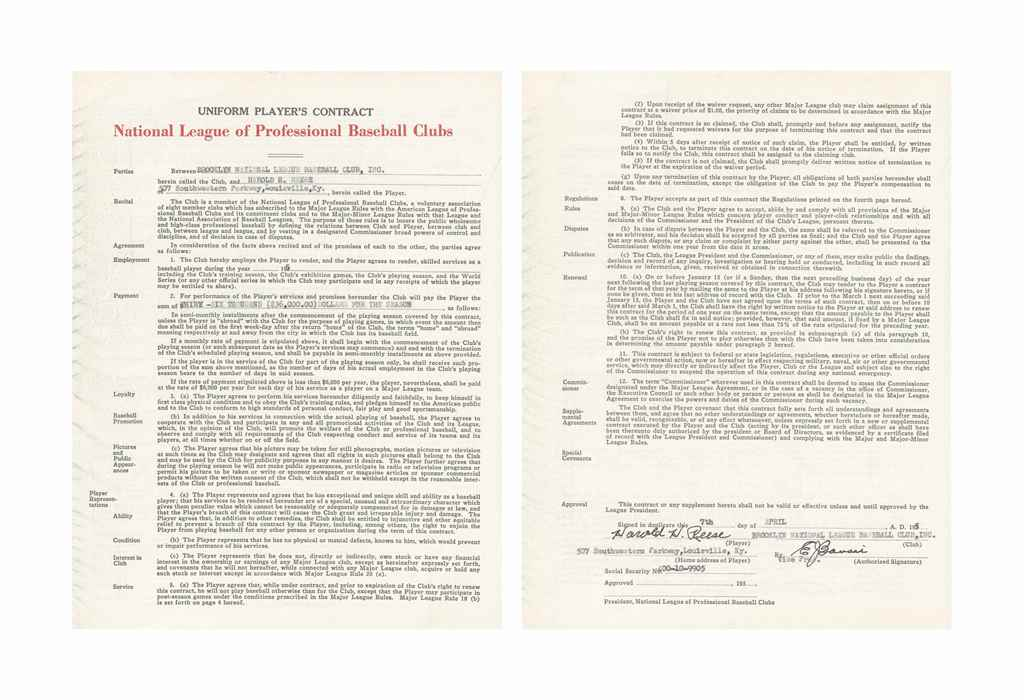 PEE WEE REESE SIGNED CONTRACT