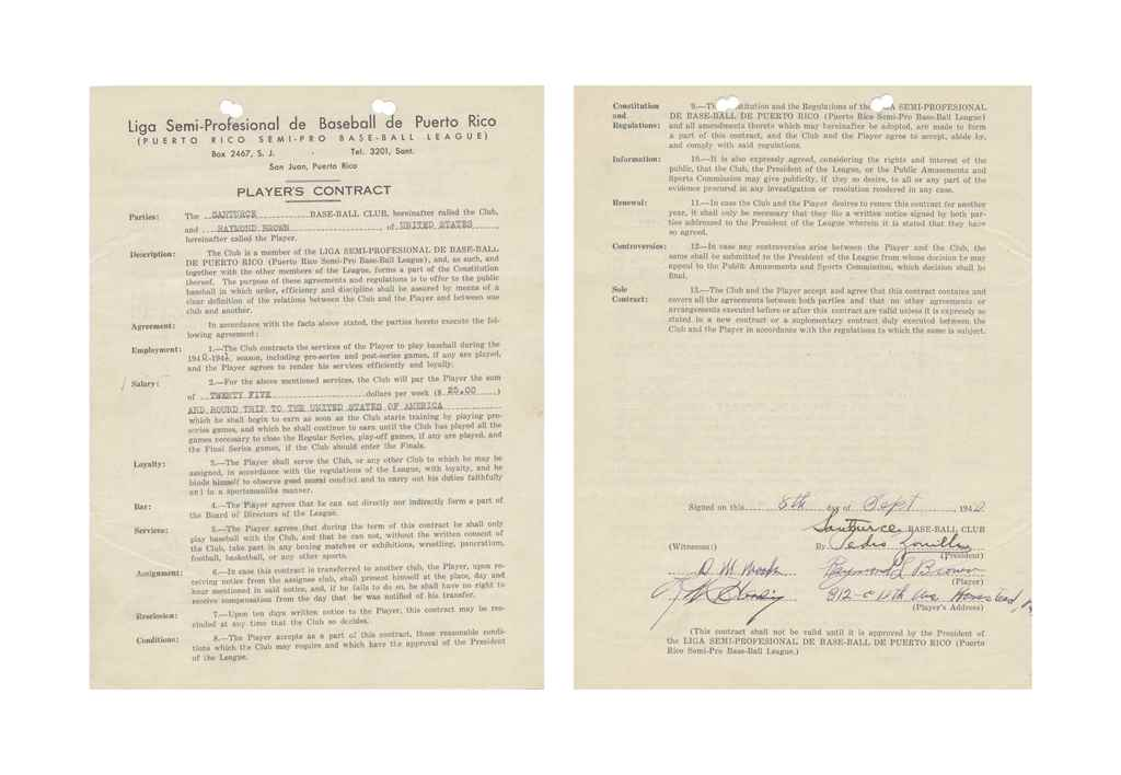 RAYMOND BROWN SIGNED CONTRACT