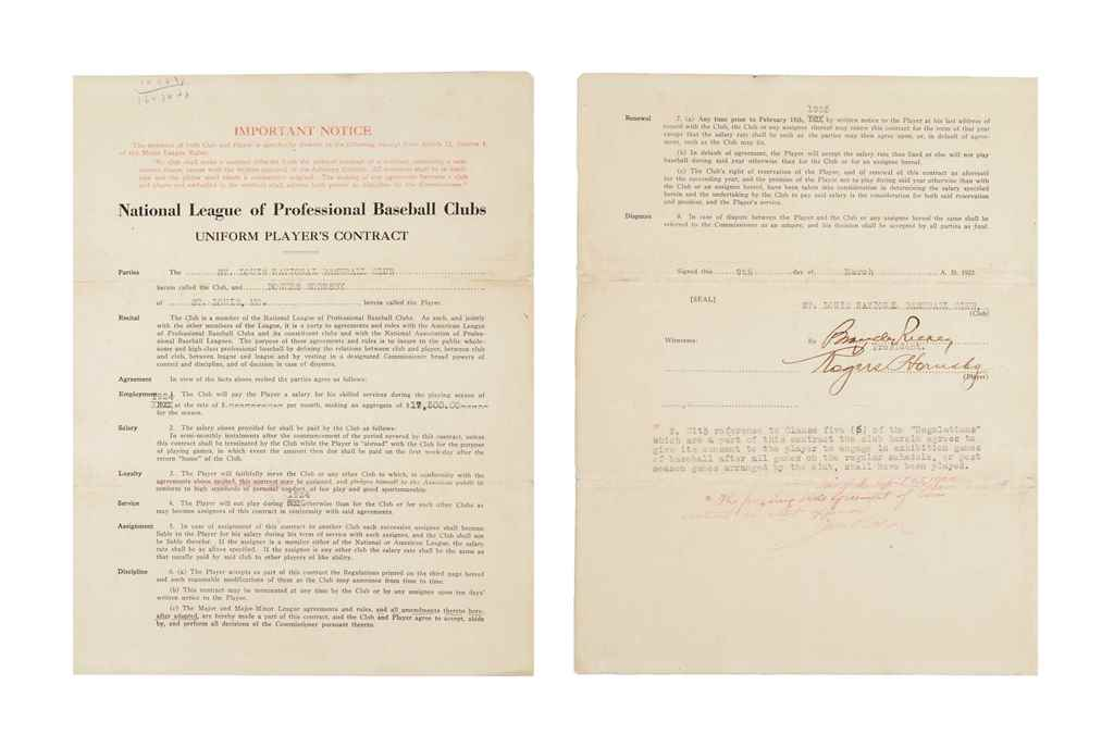 ROGERS HORNSBY SIGNED CONTRACT