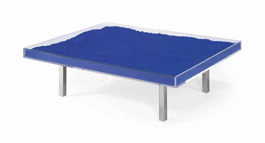 Yves klein 1928 1962 39 table bleue 39 designed 1961 for Table yves klein