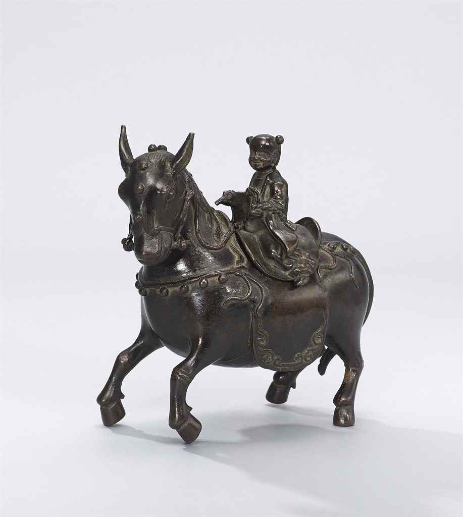 A BRONZE 'BOY AND DONKEY' CENS