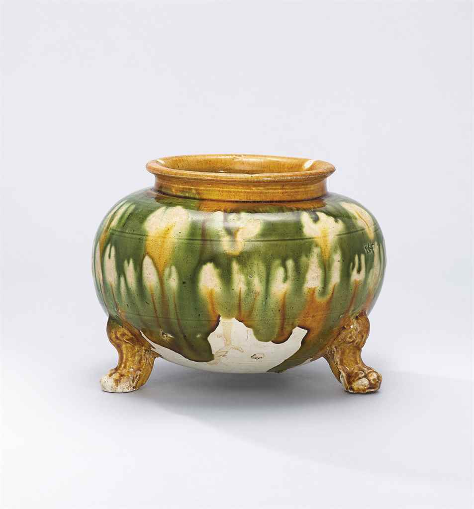 A SANCAI-GLAZED TRIPOD JAR