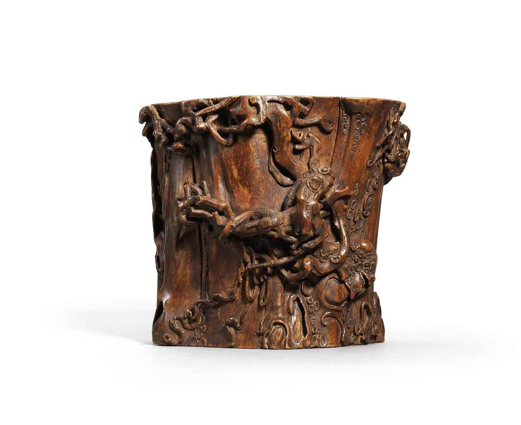 A CARVED ALOESWOOD PINE-TREE T