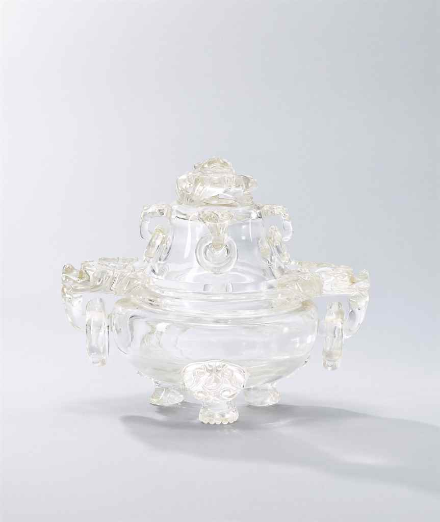 A ROCK CRYSTAL TRIPOD CENSER A
