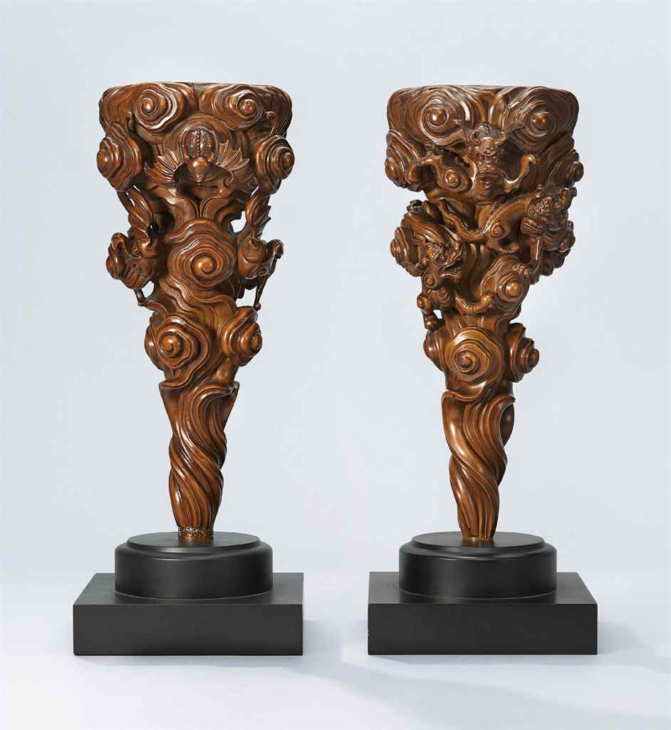 TWO CARVED BOXWOOD SUPPORTS