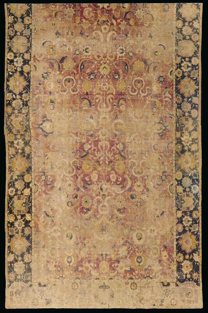 A LARGE ISFAHAN CARPET FRAGMEN