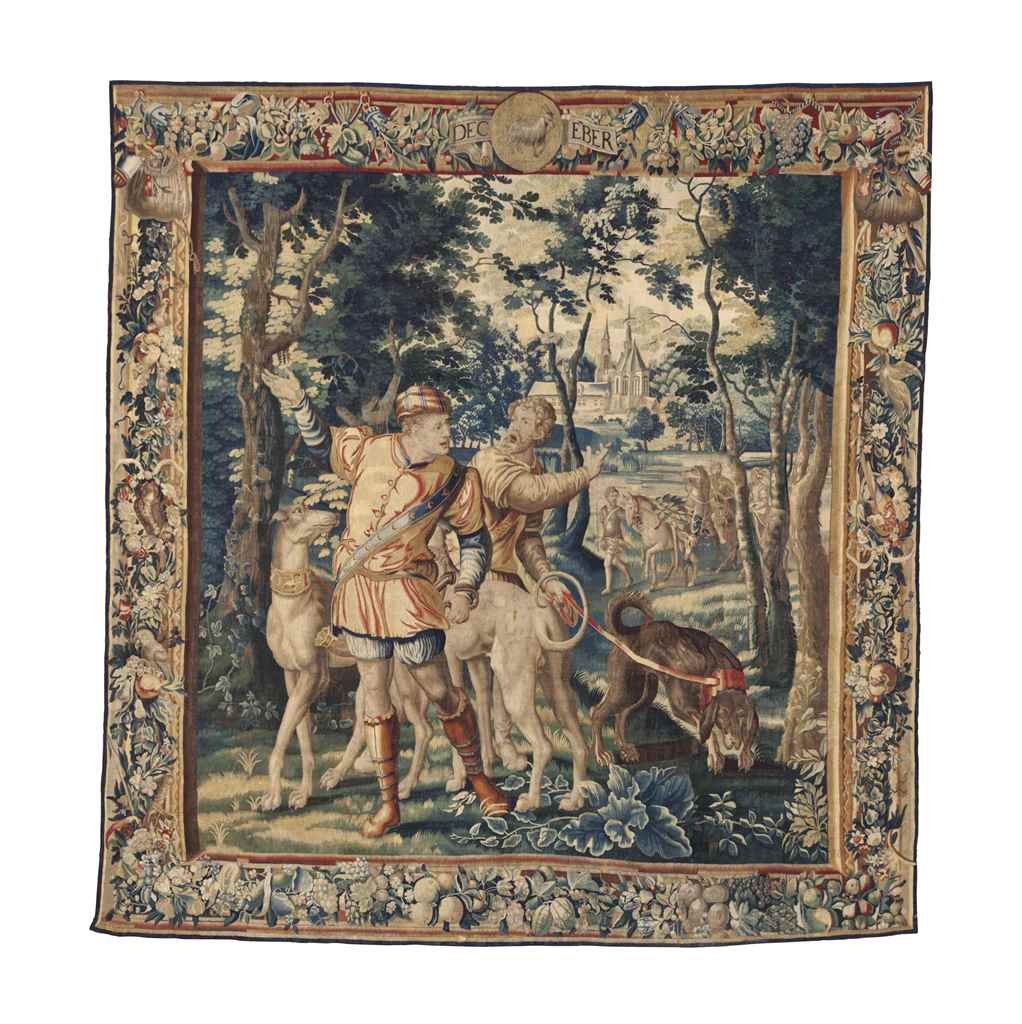 A FLEMISH HUNTING TAPESTRY
