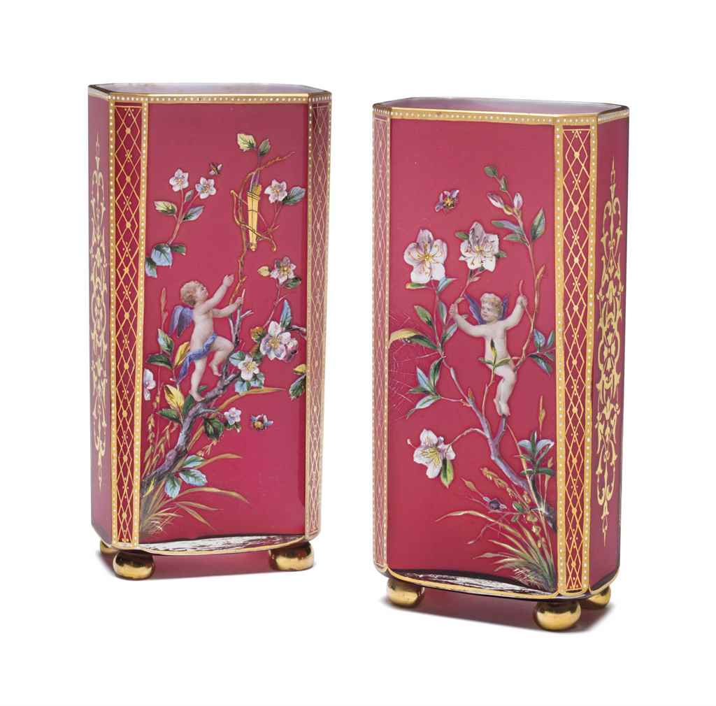 A PAIR OF BACCARAT CASED RUBY-