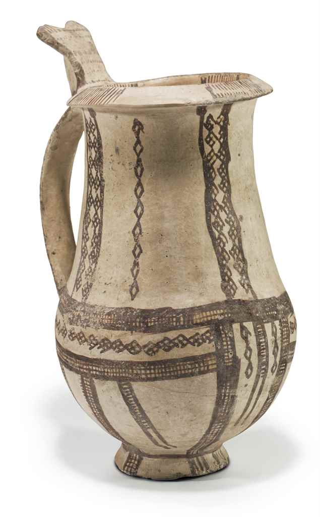 A CYPRIOT PAINTED POTTERY TANK