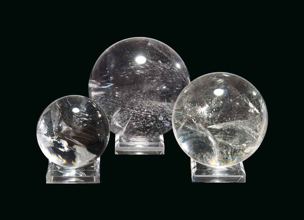 THREE QUARTZ SPHERES
