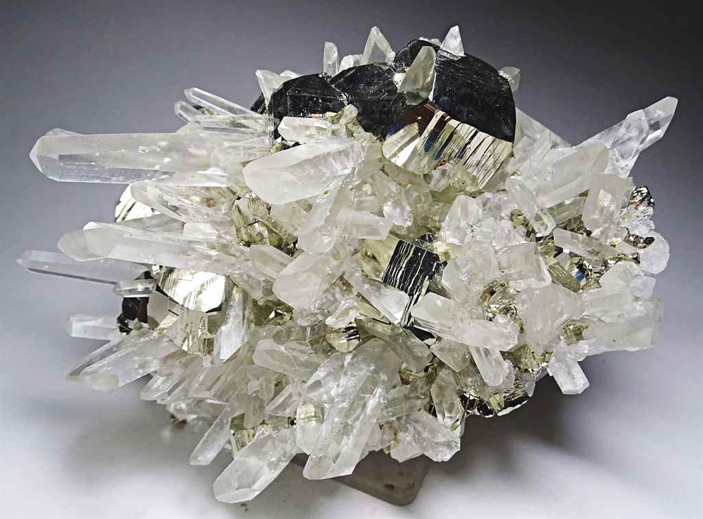 SPECIMEN OF PYRITE ON QUARTZ